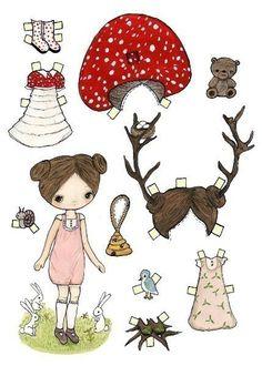 Paper Dolls Deer Bear Mushroom Bunny Rabbit by thepoppytree