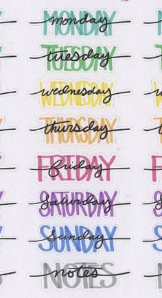 Hand Drawn Bullet Journal (BUJO) Style Weekly Headers for your planner. Each sheet contains 4 sets of Weekday Names and Notes Headers. Each Sticker is approx inches wide. Due to the hand drawn nature of these stickers the size will have slight variations. Bullet Journal Headers, Bullet Journal Banner, Bullet Journal Writing, Bullet Journal 2019, Bullet Journal Aesthetic, Bullet Journal Ideas Pages, Bullet Journal Inspiration, Bullet Journal Hand Lettering, Daily Journal
