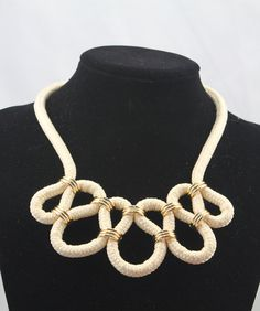 INSPIRATION ~ {with crocheted tubes}...........statement woven necklace by TopQuality918