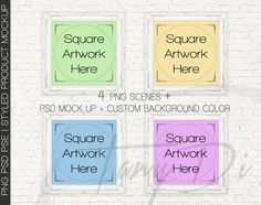 10x10 Set of 4 White Ornate Square Matted & by TanyDiDesignStudio