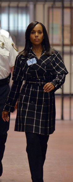 """The Limited"" Scandal collection Check Trench Coat - worn by Olivia Pope (Kerry Washington) on Scandal, season 4."