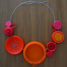 Shana Astrachan – recycled jewelry – bottle caps neckpiece