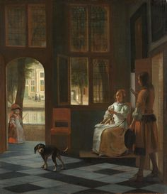 Pieter de Hooch Uomo che porge una lettera ad una donna nell'ingresso di casa / Man Handing a Letter to a Woman in the Entrance Hall of a House 1670 Rijksmuseum Amsterdam #art #arthistory #letter #dutch #amsterdam