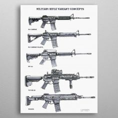 """Beautiful """"Rifle Concepts"""" metal poster created by Michael Linman. Our Displate metal prints will make your walls awesome. Tactical Wall, Tactical Guns, Wall Art Prints, Poster Prints, Canvas Prints, Posters, Tac Gear, Homestead Survival, Military Weapons"""