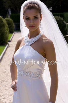 Wedding Dresses - $151.99 - Empire Halter Chapel Train Satin Wedding Dresses With Ruffle  Beadwork (002001180) http://jenjenhouse.com/Empire-Halter-Chapel-Train-Satin-Wedding-Dresses-With-Ruffle--Beadwork-002001180-g1180