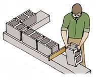 Lay out a dry test run to determine the number of concrete blocks needed. Use inch plywood pieces between blocks to fill in the mortar. Concrete Block Walls, Cinder Block Walls, Concrete Bricks, Concrete Building, Building A Deck, Concrete Wall, Cinder Blocks, Concrete Furniture, Concrete Projects