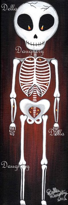 """""""Candy Corn Bones"""" A 4x 12 acrylic on stretched canvas. By Della Daughtry. Sorry this painting is SOLD!"""