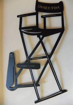 Home Theater Decor Directors Chair W/Horn Metal Wall Art Black - by sayitallonthewall (Etsy shop)