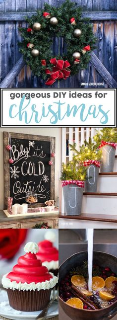 DIY Christmas Ideas - Christmas wreaths, Christmas trees, ornaments, snowman decorations, holiday centerpieces, gifts for teachers, and more!