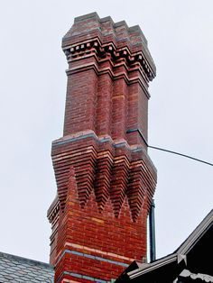 Chimney Pots at the Mark Twain House. Built in 1874 by Edward Tuckerman Potter, architect. Interior design in 1881 by Louis Comfort Tiffany and Associated Artists. Brick Architecture, Architecture Details, Amazing Architecture, Brick Images, Brick Art, Brick Walls, Brick And Mortar, Aesthetic Movement, Celebrity Houses