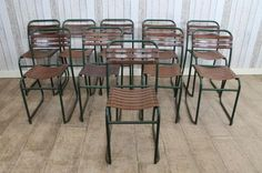 This lovely set of 10 vintage industrial slatted stacking chairs is one model from our large range of stacking chairs that we currently have for sale; ideal for any retro interior, restaurant, cafe etc. - See more at: http://www.peppermillantiques.com/slatted-chairs-set-ten-stacking-chairs/?utm_source=dlvr.it&utm_medium=facebook&utm_campaign=Feed%3A+peppermillantiques+%28Peppermill+Antiques%29&utm_content=FaceBook#sthash.LYLRgqQd.dpuf