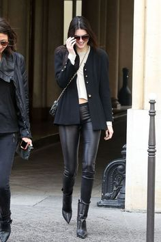 Kendall Jenner in leather leggings and a blazer