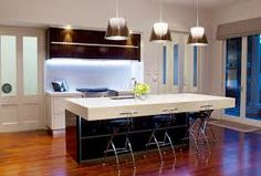 white kitchen and wood flooring - Google Search