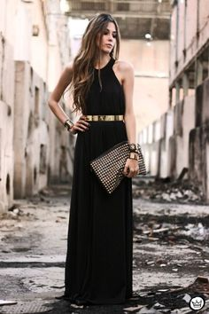 9c3704609 Miniminou golden accessories and maxi dress Vestidos De Formatura, Saia  Preta Longa, Vestido Preto