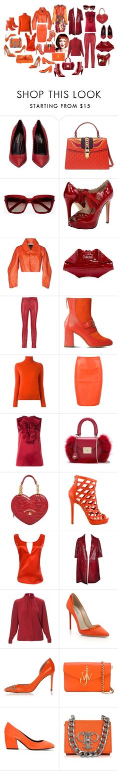 """""""red-haired and burgundy"""" by ruslana-sadova ❤ liked on Polyvore featuring Yves Saint Laurent, Gucci, Joan & David, Dsquared2, Alexander McQueen, Valentino, Boutique Moschino, Zanone, WithChic and P.A.R.O.S.H."""