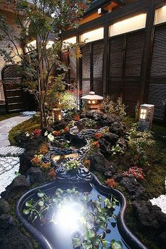 trendy exterior garden lighting - All About Balcony Japanese Garden Backyard, Japan Garden, Ponds Backyard, Balcony Garden, Landscape Design, Garden Design, Patio Central, Traditional Japanese House, Pond Waterfall