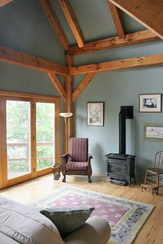 Love the exposed wood frame timber frame homes, timber house, cordwood home Timber Frame Cabin, Timber House, Timber Frames, Cordwood Homes, Interior Walls, Interior Design, Cottage Plan, Cottage Living, Living Room