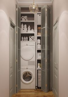 Pin on Amenagement maison Modern Laundry Rooms, Laundry Room Layouts, Laundry Room Bathroom, Laundry Room Organization, Small Bathroom, Bathroom Layout, Laundry Cupboard, Laundry Room Inspiration, Laundry Room Design