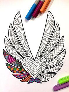 Heart & Feather Wings  PDF Zentangle Coloring Page by DJPenscript on Etsy