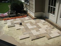 Natural stone paver patio makeover - I replaced a x patio slab with natural stone patio pavers and extended the living - Concrete Patios, Paver Stone Patio, Natural Stone Pavers, Patio Slabs, Paver Stones, Natural Stones, Deck Over Concrete, Backyard Garden Landscape, Small Backyard Gardens