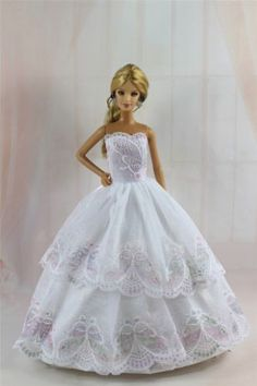 White-Fashion-Princess-Party-Dress-Clothes-Gown-For-Barbie-Doll-S284