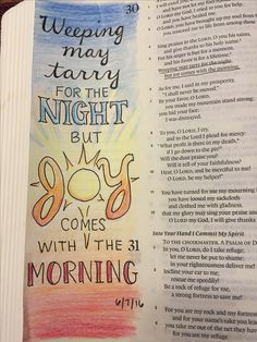 Bible Journaling, Psalm 30:5 -micron and colored pencil