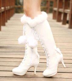 Women Lace Flower Decor Ankle Wedding Boots High Chunky Heels Platform Shoe C709
