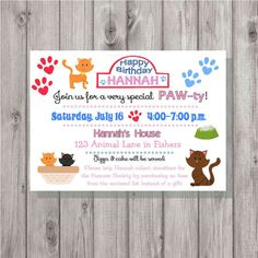 Invitation enclosure for birthday party at the humane society asking digital kitten animal shelter birthday girl party invitation printable add a photo stopboris