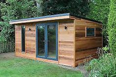 A beautiful cedar clad garden building called the Crusoe Cabane - Gartenhaus # Climatechangeprotestsigns # Outdoorkitchenbars Shed Office, Backyard Office, Backyard Studio, Backyard Sheds, Outdoor Sheds, Summer House Garden, Home And Garden, Summer Houses, Patio Plus