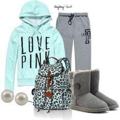 A fashion look from January 2013 featuring blue hoodie, Victoria's Secret and ugg australia boots. Browse and shop related looks. Lazy Day Outfits, Casual Outfits, Cute Outfits, Pink Outfits, School Outfits, School Looks, Fall Winter Outfits, Autumn Winter Fashion, Teen Fashion