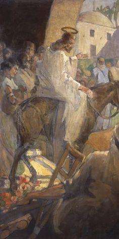 """Christ's Entry into Jerusalem,"" by Minerva Teichert God and Jesus Christ Lds Art, Bible Art, Minerva Teichert, Images Of Christ, Biblical Art, Art Of Man, Palm Sunday, Jesus Pictures, Jesus Is Lord"