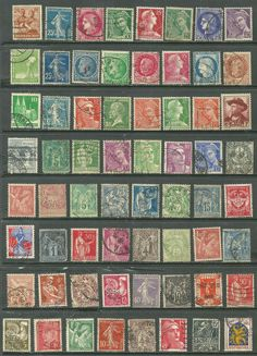 French stamps collection of 64 1890, 1921 france semeuse affranchisement postes