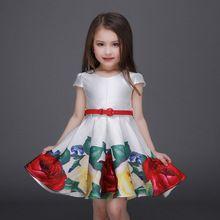 Verano 2016 flores de los bebés visten con la correa a la moda Girl embroma la ropa real la princesa del estilo del partido de los niños traje(China (Mainland))