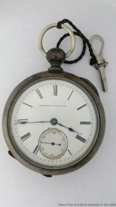 1880-1889 : Hampden Coin Silver 11 Jewels Springfield Men's Pocket Watch Key Wind & Set #Hampden