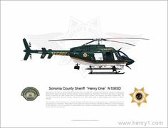 An original Illustration by Eric Lian. Sonoma County Sheriff Bell 407.