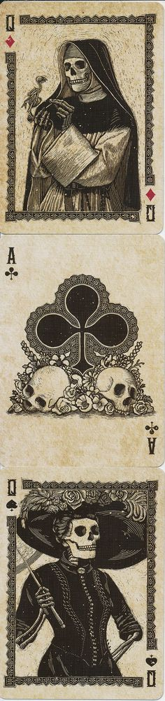 Q♦ A♣ Q♠ Calaveras Playing Cards. Designed by Chris Ovdiyenko. Really like the use of full figured court cards - great artwork. Wolfthings private collection.