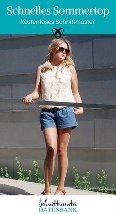 Schnelles Sommertop Last-Minute-Nähideen Oberteil für Frauen kostenlose Schnittmuster Gratis-Nähanleitung