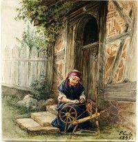 Alte Frau im Spinnrad auf den Stufen vor einem Fachwerkhaus (Schloß Wernigerode GmbH CC BY-NC-SA)