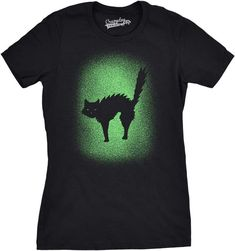 Glowing Cat Womens Tshirt Halloween Outfits