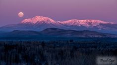 """First light on Mt.Katahdin in Northern Maine by Paul Cyr Photography (The Penobscot Indians named this mountain which means""""The Greatest Mountain""""This mountain is the highest mountain in Maine,which is located in Baxter State Park. Baxter State Park, Northern Maine, Some Beautiful Pictures, World Photo, Appalachian Trail, One Light, Nature Photos, Beautiful World, Mother Nature"""