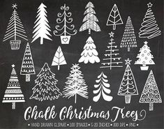 Hand drawn chalk, chalkboard Christmas tree clip art. Set includes charming hand drawn Christmas tree, fir tree images in in chalkboard texture, as well as the same elements in white color - 100 images total. 12x12 chalkboard background also included. These whimsical hand drawn