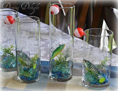 As promised in my previous post, here is a simple tutorial on how to create a fishing themed centerpiece in a cylinder vase. I've had som. Fish Centerpiece, Party Centerpieces, Birthday Party Themes, Boy Birthday, Surprise Birthday, Birthday Ideas, Fishing Wedding, Baby Fish, Cylinder Vase