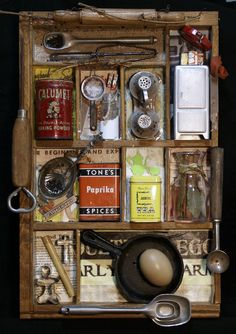"""Details: Approximately 12"""" x 16"""" with a 1 1/2"""" profile, this piece of assemblage has the cook and baker in mind. Several antique pieces ranging from cast metal to paper were arranged in a desk drawer"""