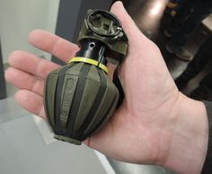 - Enforce Tac 2015 / Rheinmetall showcased the defensive hand grenade with airburst effect at the 2015 edition of the EnforceTac exhibition Anime Weapons, Weapons Guns, Guns And Ammo, Military Gear, Military Weapons, Luftwaffe, Tac Gear, Weapon Concept Art, Robot Design