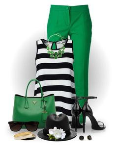 Green w/ black & white! Love this outfit. Casual Work Outfits, Mode Outfits, Work Casual, Chic Outfits, Casual Chic, Spring Outfits, Fashion Outfits, Fashion Mode, Work Fashion