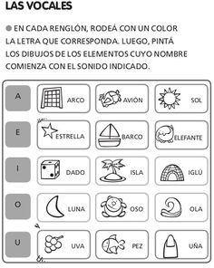 Actividades escolares (las vocales) (worksheet) « EDUCACION Activities For 5 Year Olds, Spanish Activities, Class Activities, Infant Activities, Educational Activities, Spanish Worksheets, Letter Worksheets, Kindergarten Math Worksheets, Spanish Classroom