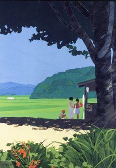 日本人なら誰もが自分の風景を心の中に持っている。私たちが命を通して見た四季折々の景色を『はり絵』で表現。内田正泰 ピエゾグラフ版画 またおいで 【うちだまさやす】【送料無料】[10P05Nov16] Illustration Art Drawing, Graphic Illustration, Art Drawings, Watercolor Landscape, Landscape Art, Landscape Paintings, Japanese Art Modern, Japanese Artists, New Retro Wave