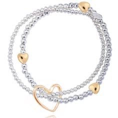 We can't resist this beautiful Joma jewellery lila silver plated bracelet with gold hearts £20.99 from Lizzielane.com http://www.lizzielane.com/product/joma-jewellery-lila-silver-bracelet-gold-hearts/