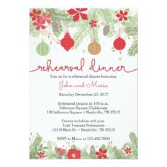 Christmas Rehearsal Dinner Invitation - wedding invitations diy cyo special idea personalize card