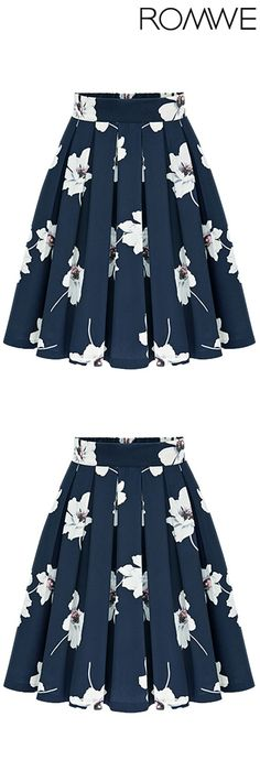 cool Flowers Print Chiffon Pleated Navy Skirt. Floral print skirt in navy. This colo...